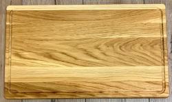 Holz Brett - Schneidebrett aus Eiche Massivholz, rechteckig, mit Saftrille - 50cm x 30cm - individuelle Lasergravur möglich