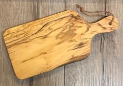 Holz Brett - Schneidebrett aus Olivenholz mit Griff klein/ Petersilienbrett ca. 30cm x 14cm - individuelle Lasergravur möglich