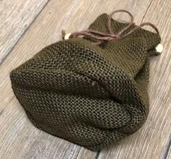 Beutel aus Jute mit Boden & Schnüren - braun - 17x10cm