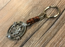 Schlüsselanhänger - Kompass mit geflochtenem Lederband - Keyring