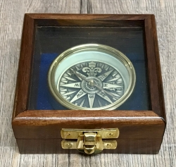 Maritimes - Kompass 3D-Innenoptik in Holzbox mit Messing - Durchmesser 5,7cm