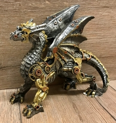 Statue - Steampunk - Drache - Dracus Machina (small) 20,5 x 9 x 16,5cm