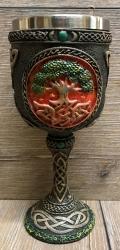 Kelch mit Stahleinsatz - Yggdrasil-Weltenbaum / Tree of Life  - braun