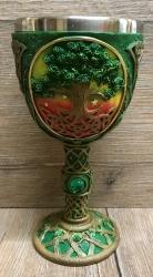 Kelch mit Stahleinsatz - Yggdrasil-Weltenbaum / Celtic Dawn - grün