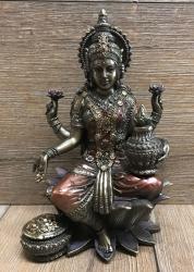 Statue - Lakshmi sitzend-  hinduistische Göttin des Glücks, der Liebe, der Fruchtbarkeit, des Wohlstandes, der Gesundheit & der Schönheit - bronziert - Dekoration - Ritualbedarf