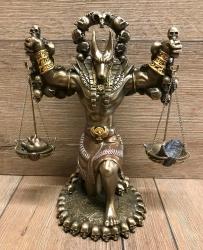 Statue - Anubis mit Waage und Schädel-Ankh - agyptischer Gott der Toten - bronziert - Dekoration - Ritualbedarf