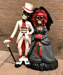 Statue - Gothik - Hochzeitspaar Skelett - Dia de los Muerte - coloriert