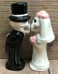 Pfeffer & Salzstreuer - Hochzeitspaar Skelett - love never dies
