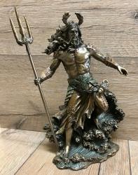 Statue - Oceanus mit Speer - griechischer Meeresgott - Okeanus, Poseidon, Neptun - Dekoration - Ritualbedarf
