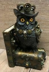 Statue - Buchstütze Steampunk Eule/ Augmented Wisdom 19cm - einzeln