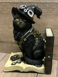 Statue - Buchstütze Steampunk Katze/ Purring Pioneer 19cm - einzeln