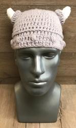 Häkel- Mütze - Wikinger mit Hörnern Gr. L 56-58cm - grau/weiß - handmade - Herbst/ Winter Kopfbedeckung - Beanie - Austellungsstück
