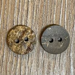 Knopf aus Kokosnuß Naturborke- 2-Loch - dunkelbraun - 15mm