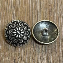 Knopf aus Metall - florales Motiv – Öse – 23mm
