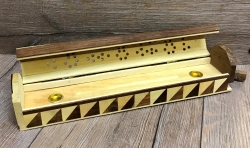 Räucherstäbchen & -kegel - Halter aus Holz - Räucherbox inkl. Aufbewahrungsfach - 2-farbig