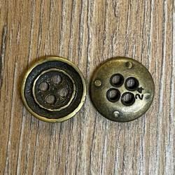 Knopf aus Metall - leicht geschüsselt – 4 Löcher – 15mm