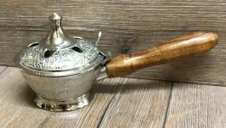 Räuchergefäß - Räucherpfanne - ca. 9cm hoch, Holzgriff - nickel