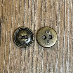 Knopf aus Metall - geprägter Rand – 2-Loch – 13mm - Ausverkauf