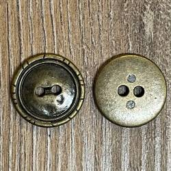 Knopf aus Metall - geprägter Rand – 2-Loch – 18mm - Ausverkauf