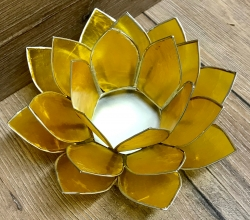 Kerzenhalter - LotusBlume -  3. Solarplexus-Chakra/ Manipura - gelb mit Silberrand