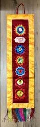 Chakra Wandbehang Stickarbeit mit Brokat - 70cm x 19cm
