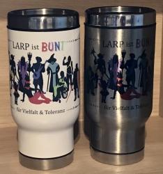 Tasse - Thermos-Becher/ Travel Mug/ Coffee to go - LARP ist BUNT - weiß oder silber
