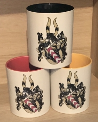 Tasse - Wappen der Familie Stursberg, Storsberg, Stosberg, Stoßberg/Stossberg und Strasburg - Keramik, Spark-Glitzer oder Emaille