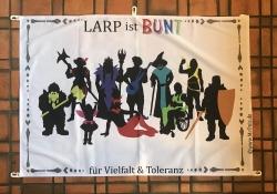 Banner - LARP ist BUNT für Vielfalt & Toleranz - DIN A0 quer (118,9cm x 84,1cm)