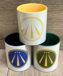 Tasse - AWEN Symbol in blau (Barde), grün (Ovate) & weiß/gelb (Druide) - Keramiktasse