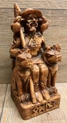 Statue - Odin sitzend - Seated Odin - Holzfinish - B-Ware defekte Speerspitze