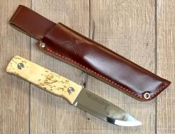 Marttiini Gürtelmesser - TUNDRA CB - Maserbirke - braune Lederscheide - Messer des Monats September/ Oktober 2020