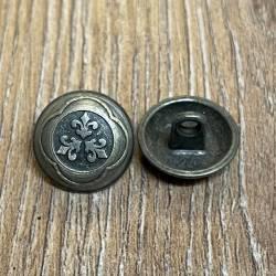 Knopf aus Metall - bombiert mit Ornament – Öse – 15mm - Ausverkauf