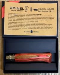 Opinel Rostfrei - Nr. 08 - 11cm - Birke laminiert rot - 12C27 - in Geschenkbox