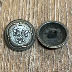 Knopf aus Metall - bombiert mit Ornament – Öse – 20mm - Ausverkauf