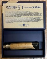 Opinel Rostfrei - Nr. 08 - 11cm - ATELIER - spiegelpoliert 12C27, Walnuss-Ahorn-Ebenholz-Griff - in Geschenkbox