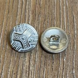 Knopf aus Metall - leicht bombiert mit Ornament, weiß pateniert – Öse – 15mm - Ausverkauf