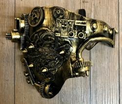Steampunk - Maske mit Gummiband - Halb-Maske Tekno-Wheel