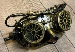Steampunk - Maske mit Gummiband - Steam wheel - altgold