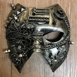 Steampunk - Maske mit Gummiband - Dark Ruler - altsilber