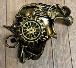 Steampunk - Maske mit Gummiband - Halbmaske Golden Wheel - altgold