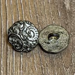 Knopf aus Metall- mit Ornamenten - silber – Öse – 15mm - Ausverkauf