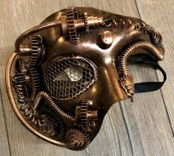 Steampunk - Maske mit Kunstseidenband - Halb-Maske mit Augengitter - altkupfer