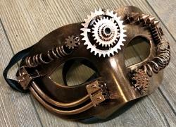 Steampunk - Maske mit Kunstseidenband - Zahnrad auf Stirn - altkupfer