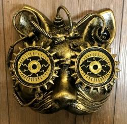 Steampunk - Maske mit Gummiband - Steam Cat - altgold