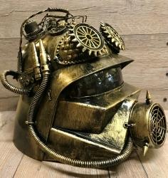 Steampunk - Helm - Alien Helmet - altgold