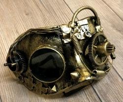Steampunk - Maske mit Gummiband - Cyclops - goldfarben