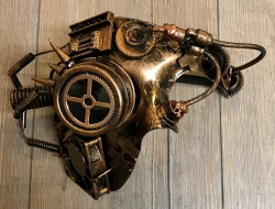 Steampunk - Maske mit Gummiband - Cyber Switch - altkupfer