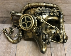 Steampunk - Maske mit Gummiband - Cyber Pestdoctor - altgold