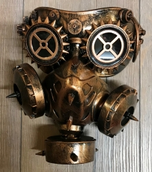 Steampunk - Maske mit Gummiband - Gas-Maske Alien Attack - altkupfer