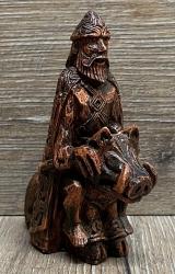 Statue - Freyr Gott der Ernte Figurine klein - Holzfinish - Dekoration - Ritualbedarf